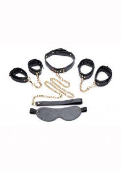 Master Series Golden Submission Bondage Set (4 Piece Kit) - Black/Gold