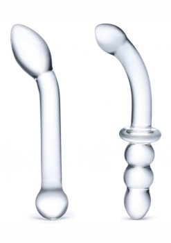Glas G-Spot Pleasure Dildo Set (2 Piece) - Clear