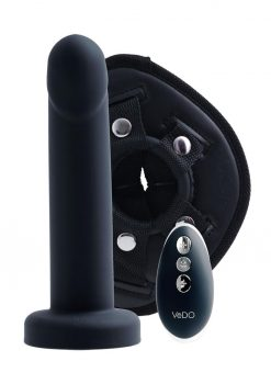 Strapped Silicone Rechargeable Vibrating Strap On - Just Black