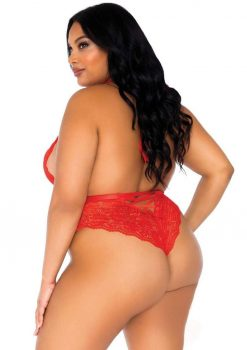 Leg Avenue High Neck Floral Lace Backless Teddy With Lace Up Accents And Crotchless Thong Panty - 1X-2X - Red