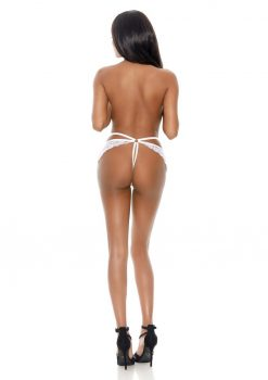 Barely Bare Butterfly Strap Lace Thong Panty - O/S - White