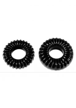 The Xplay Mixed Pack Ribbed Ring andamp; Ribbed Ring Slim (2 Pack) - Black