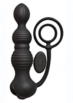 Anal-Ese Silicone Rechargeable Remote Control Pleasure Plug andamp; Cockring - Black