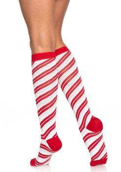 Leg Avenue Candy Cane Lurex Knee High Socks - O/S - Red/White