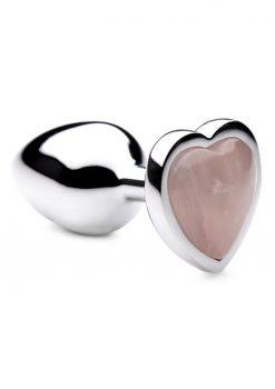 Booty Sparks Gemstones Rose Quartz Heart Anal Plug - Small - Pink