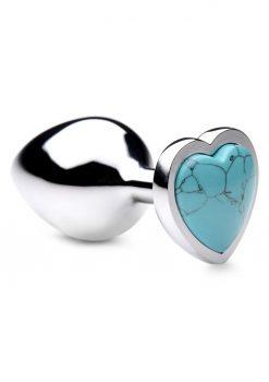 Booty Sparks Gemstones Turquoise Heart Anal Plug - Medium - Blue
