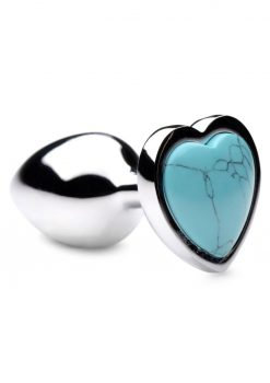 Booty Sparks Gemstones Turquoise Heart Anal Plug - Small - Blue