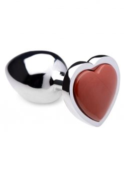 Booty Sparks Gemstones Red Jasper Heart Anal Plug - Small - Red