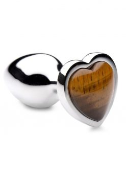 Booty Sparks Gemstones Tiger Eye Heart Anal Plug - Small - Brown