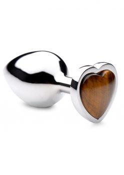 Booty Sparks Gemstones Tiger Eye Heart Anal Plug - Medium - Brown