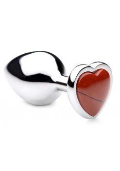 Booty Sparks Gemstones Red Jasper Heart Anal Plug - Medium - Red
