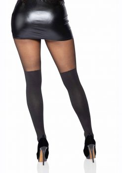 Leg Avenue Spandex Opaque Cross Pantyhose With Sheer Thigh Accent - O/S - Black