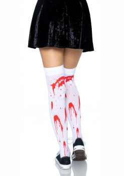 Leg Avenue Bloody Zombie Thigh High - O/S - White/Red