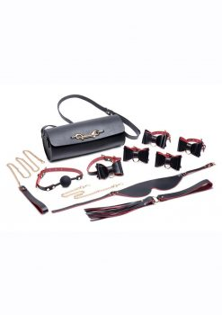 Master Series Black andamp; Red Bow Bondage Set With Carrying Case