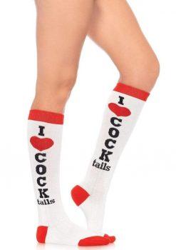 Leg Avenue Cocktails Knee Socks - O/S - White/Red