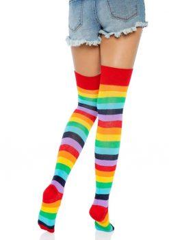 Leg Avenue Lycra Acrylic Rainbow Thigh High - O/S - Multicolor