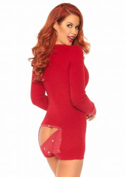 Leg Avenue Brushed Rib Romper Long Johns With Cheeky Snap Closure Back Flap - XLarge - Red