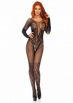 Leg Avenue Vine Lace And Net Long Sleeved Bodystocking - Black